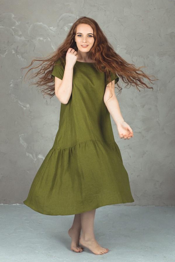 Vienspalvė lininė suknelė su volanu, visos spalvos.