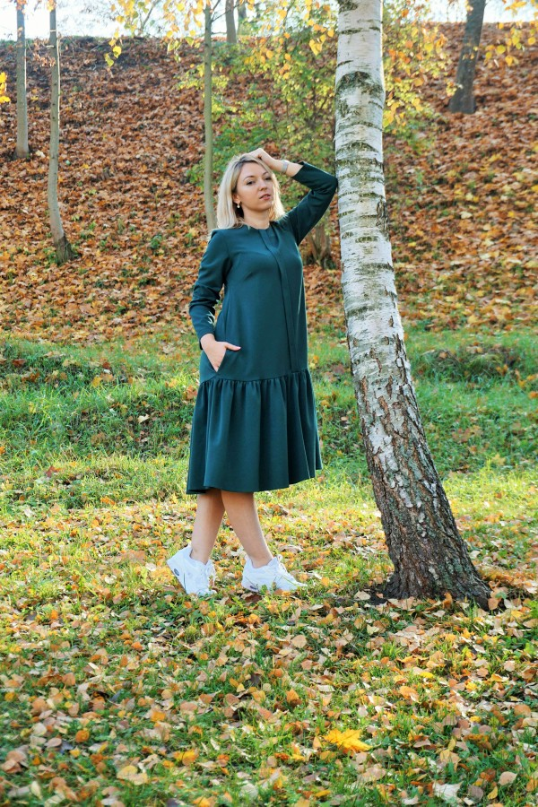 """Smaragdo spalvos suknelė """" Lėja"""""""